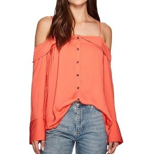 FREE PEOPLE Button Down Long Sleeve Off Shoulder